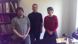 A találkozó résztvevői (balról): Dombos Tamás, Claud Cahn, Ivány Borbála