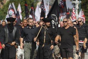 Demonstráció Devecseren. (Fotó: Nagy Lajos / MTI)